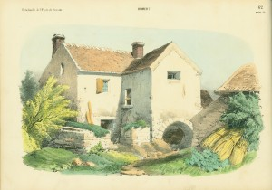 Left-hand side of a page spread depicting a farm house as colored by the publishers.